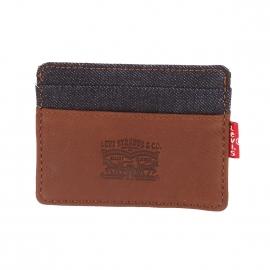 Porte-cartes Levi's en cuir marron et jean bleu