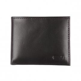 Portefeuille italien Levi's en cuir lisse noir à porte-cartes amovible