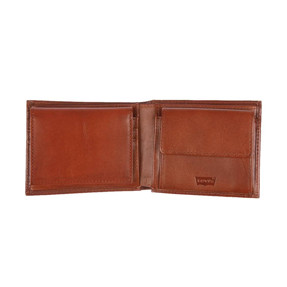 Portefeuille italien Levi's Inlay en cuir lisse marron à porte-cartes amovible q57kn