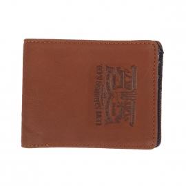 Portefeuille italien Levi's en cuir marron à intérieur en jean