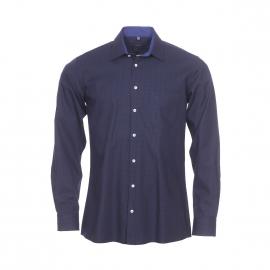 Chemise droite Jean Chatel en coton à carreaux vichy bleu marine et noirs et opposition bleu indigo
