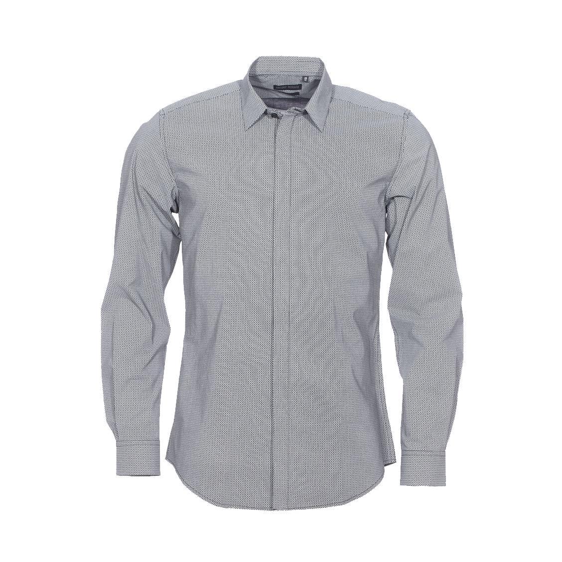 Chemise cintrée  en coton noir à petits motifs blancs