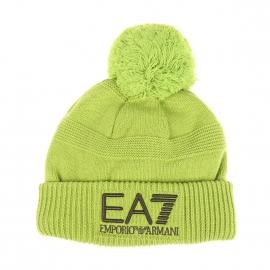 Bonnet à pompon EA7 en laine mélangée vert anis
