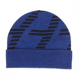 Bonnet à revers EA7 en laine bleu électrique chiné floqué en noir