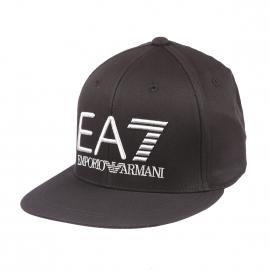 Casquette EA7 en coton noir brodée en gris