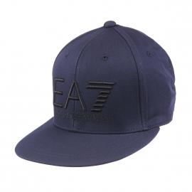Casquette EA7 en coton bleu marine brodée en noir