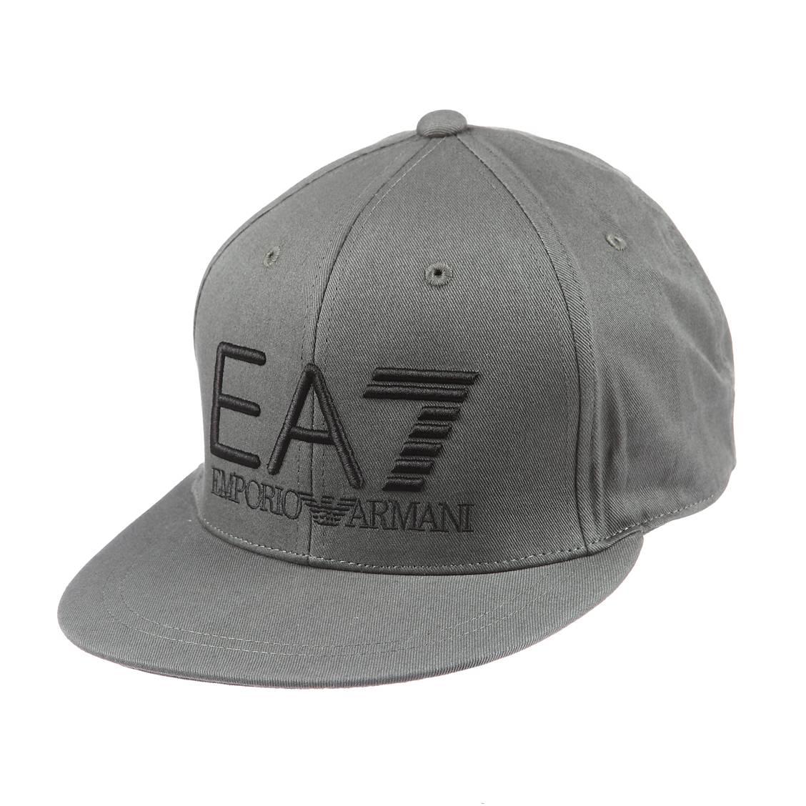 Casquette EA7 en coton gris brodée en noir