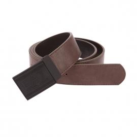 Ceinture ajustable et réversible EA7 en simili-cuir marron et noir à boucle pleine noire gravée