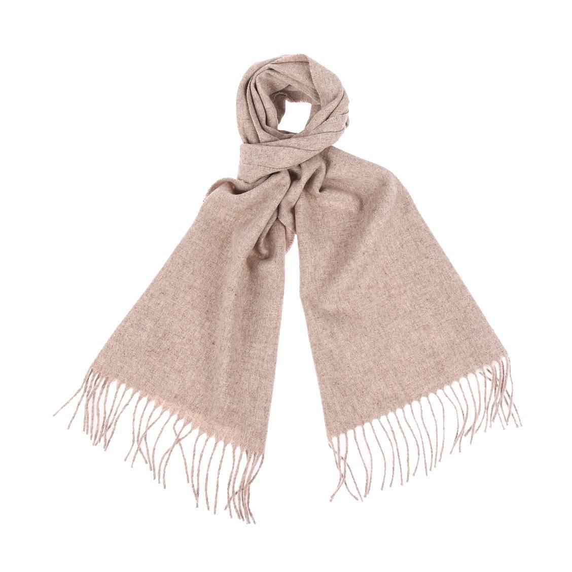 Echarpe  en laine vierge beige chiné