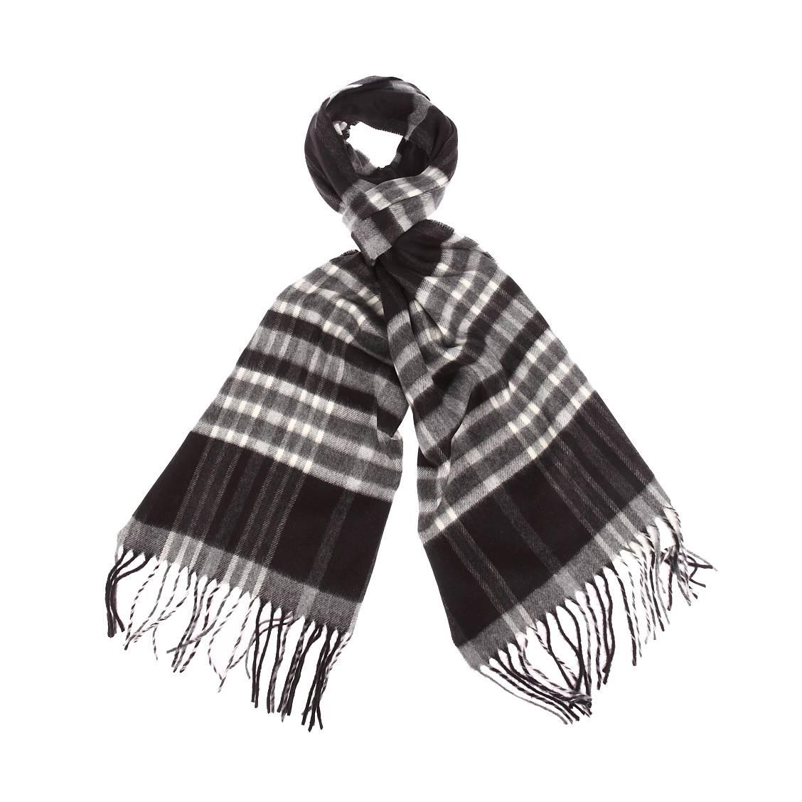 Echarpe douce  à carreaux noirs, gris et blancs