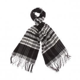 Echarpe douce Jean Chatel à carreaux noirs, gris et blancs