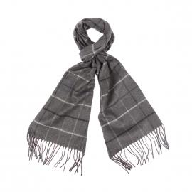 Echarpe douce Jean Chatel gris chiné à carreaux noirs, gris clair et bleu marine