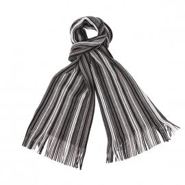 Echarpe Jean Chatel à rayures noires, grises et blanches