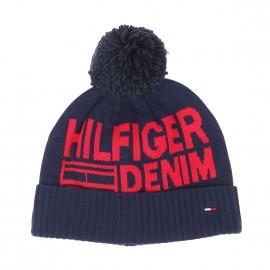 Bonnet à pompon Hilfiger Denim bleu marine et tricoté du nom de la marque en rouge
