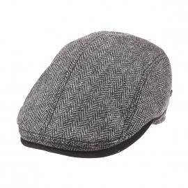 Béret casquette Xavier Göttmann en laine grise et noire à motif chevron