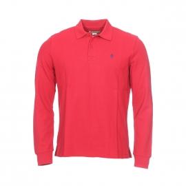Polo manches longues MCS en coton à maille piquée rouge