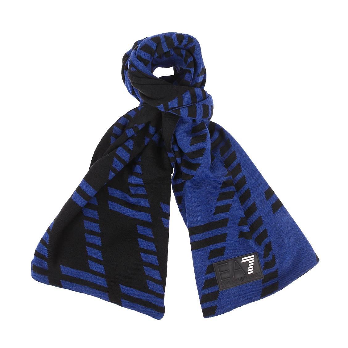 Echarpe réversible  bleu électrique et noire, monogrammée de \