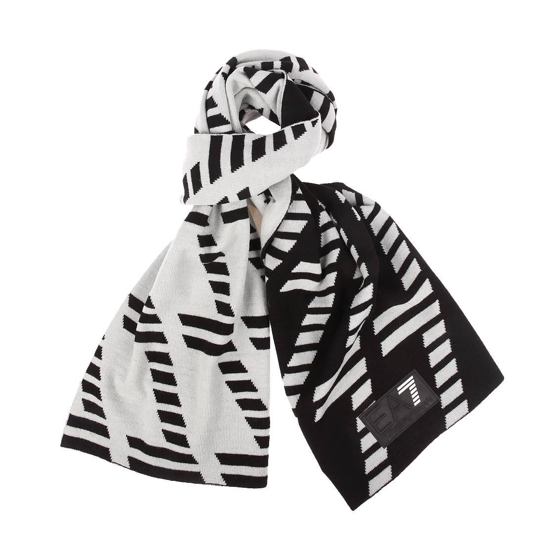 Echarpe réversible  noire et blanche, monogrammée de \