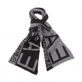 Echarpe EA7 gris chiné et noire, monogrammée