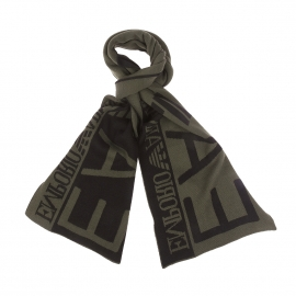 Echarpe EA7 kaki et noire, monogrammée
