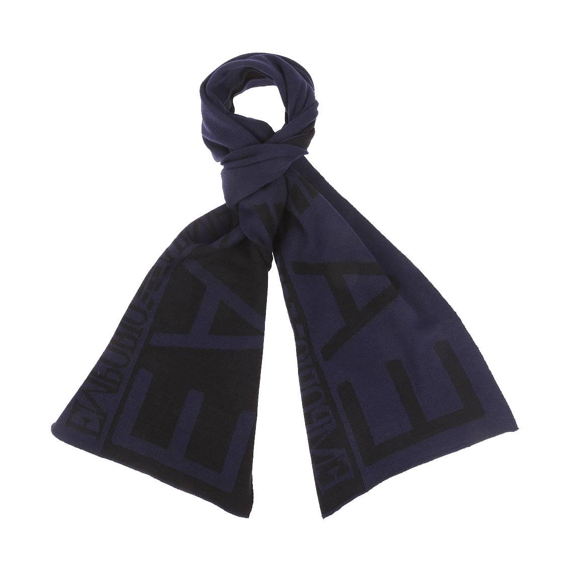 Echarpe  bleu nuit et noire, monogrammée