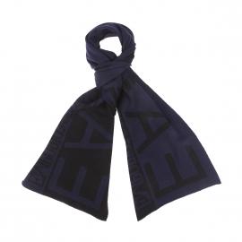 Echarpe EA7 bleu nuit et noire, monogrammée