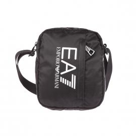 Petite sacoche EA7 en toile noire avec poche avant verticale zippée