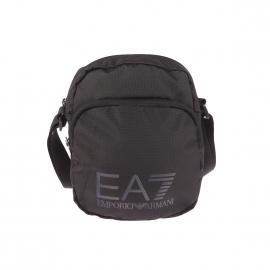 Petite sacoche EA7 en toile quadrillée noire et imprimé à l'avant ton sur ton