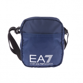 Petite sacoche EA7 en toile bleu marine