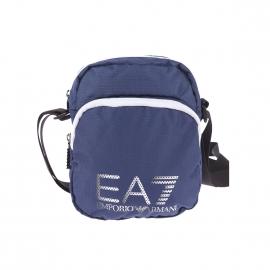 Petite sacoche EA7 en toile quadrillée bleu marine