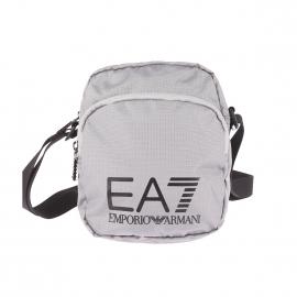 Petite sacoche EA7 en toile quadrillée gris argenté
