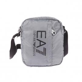 Petite sacoche EA7 en toile gris argenté avec poche avant verticale zippée