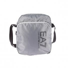Grande sacoche EA7 en toile gris argenté