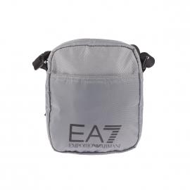 Petite sacoche EA7 en toile gris argenté