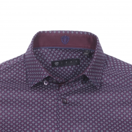 Chemise cintrée Izac en coton bleu marine à motifs fleurs prune et blanches