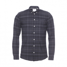 Chemise cintrée Canarsie Minimum en flanelle de coton à carreaux gris, gris anthracite et noirs