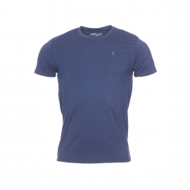 Tee-shirt col rond Terry Gentleman Farmer en coton stretch bleu marine