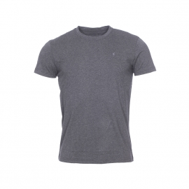 Tee-shirt col rond Terry Gentleman Farmer en coton stretch gris anthracite chiné