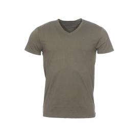 Tee-shirt col V Tomas Gentleman Farmer en coton stretch kaki