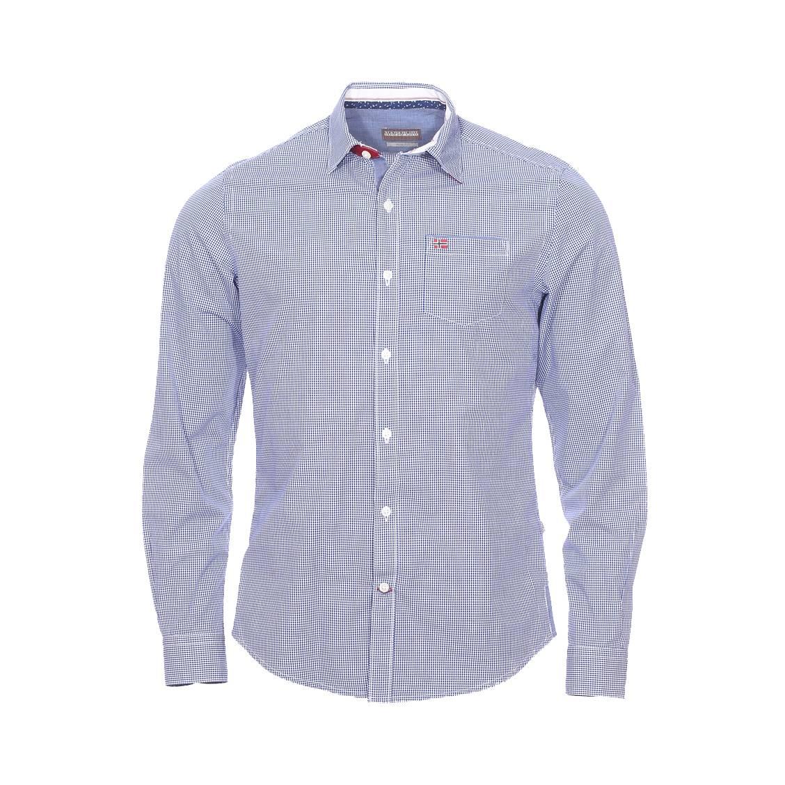 Chemise cintrée Napapijri en coton à carreaux vichy blancs et bleu marine  ...
