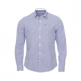 Chemise cintrée Napapijri en coton à carreaux vichy blancs et bleu marine