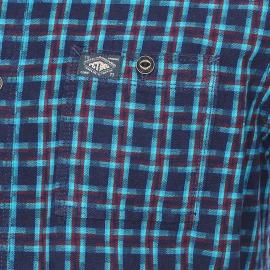 Chemise ajustée Petrol Industries en coton bleu marine à carreaux verts et bordeaux
