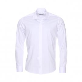 Chemise cintrée Gianni Ferrucci en coton blanc à poignets mousquetaires