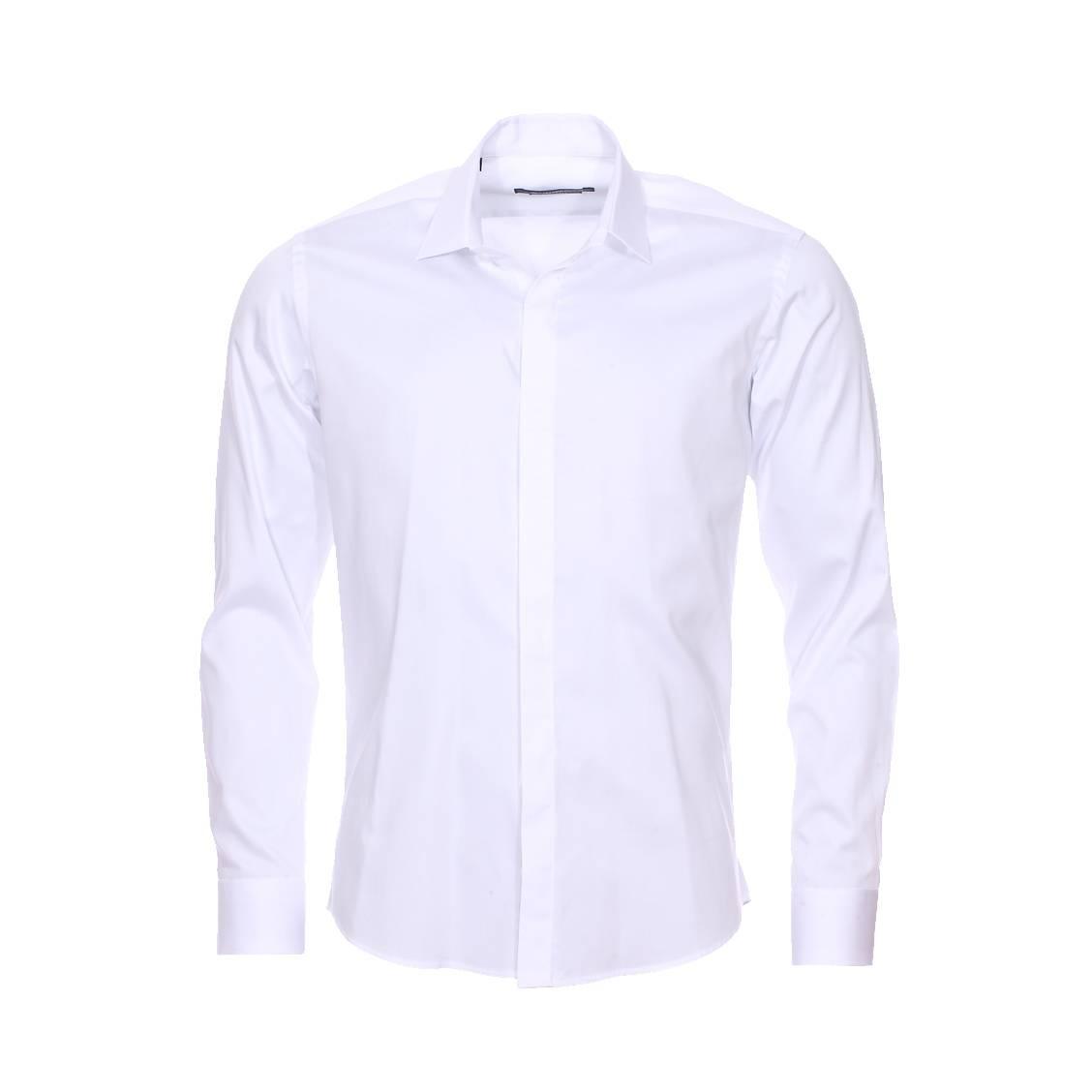 Chemise cintrée  en coton blanc à boutonnière dissimulée