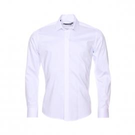 Chemise cintrée Gianni Ferrucci en coton blanc à boutonnière dissimulée par un double rabat