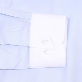 Chemise cintrée Gianni Ferrucci en coton bleu ciel à col et poignets blancs
