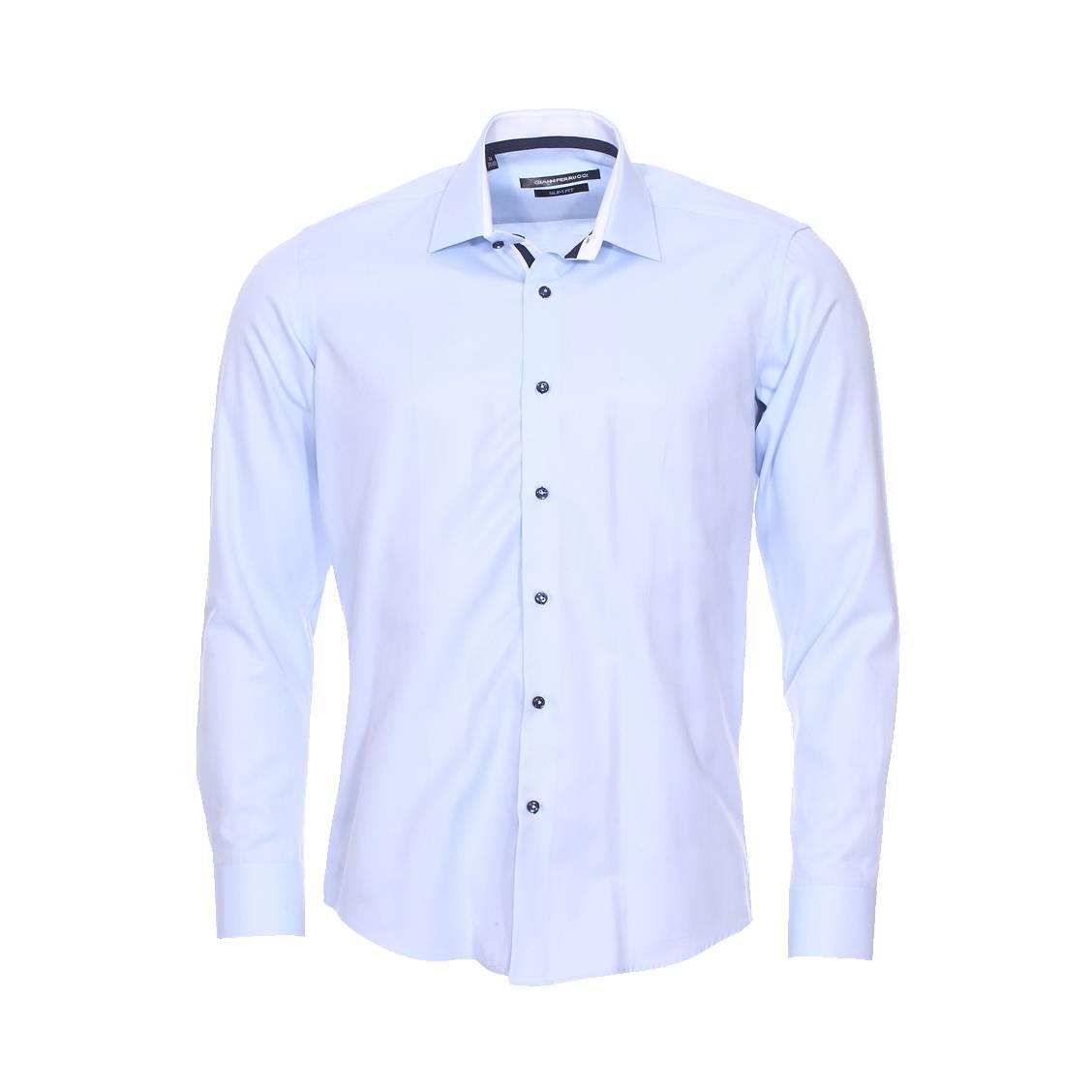 Chemise cintrée  en coton bleu ciel à opposition blanche
