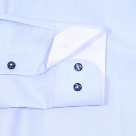 Chemise cintrée Gianni Ferrucci en coton bleu ciel à opposition blanche