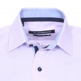 Chemise cintrée Gianni Ferrucci en coton parme à opposition bleu ciel