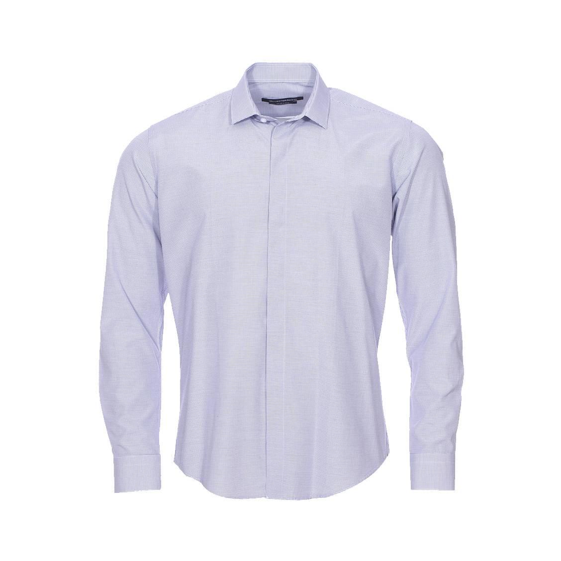 Chemise cintrée  blanche à quadrillage bleu marine